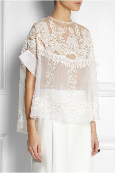 Biyan | Solana embroidered silk-blend organza top | NET-A-PORTER.COM