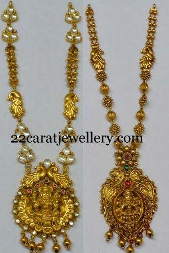 Jewellery Designs: Antique Polki Medium Size Necklaces