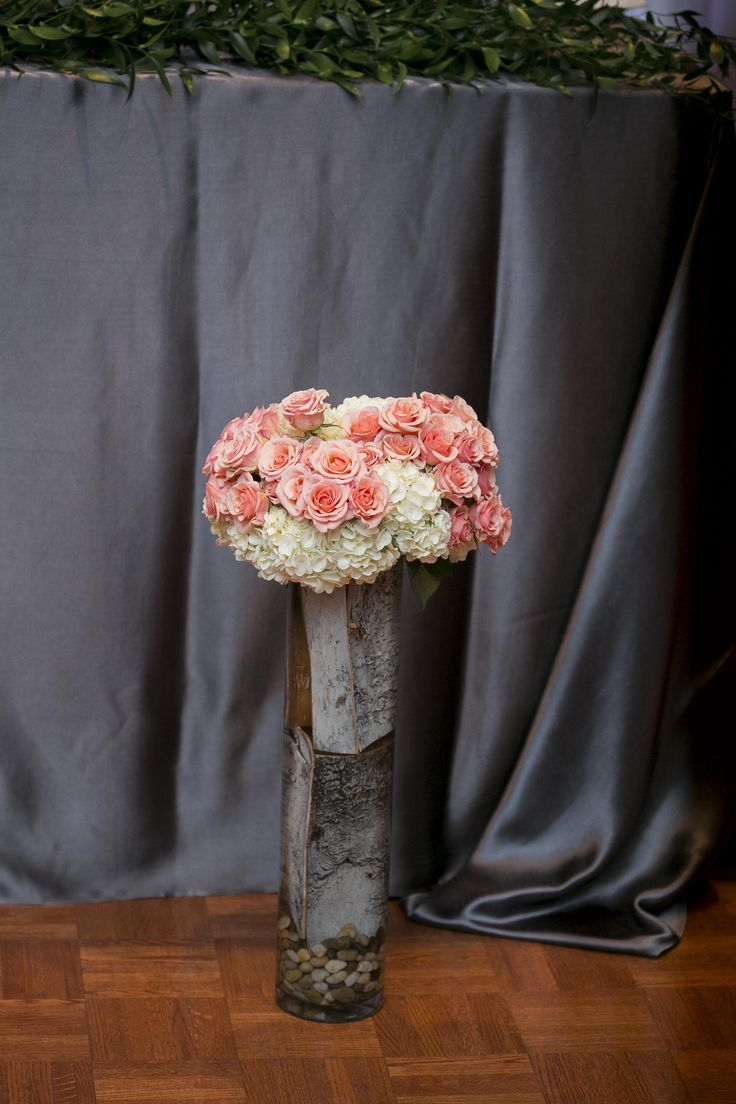 Tall Vase | Birch | Coral Flower arrangement