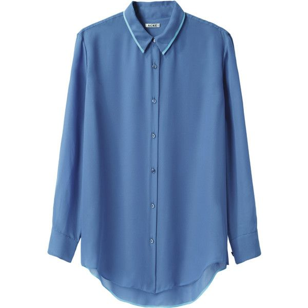 Acne Studios Pattie Shirt (305 BRL) ❤ liked on Polyvore featuring tops, blouses, shirts, long sleeve polyester shirts, blue collar shirt, long sleeve button up shirts, blue button up shirt and collared shirt