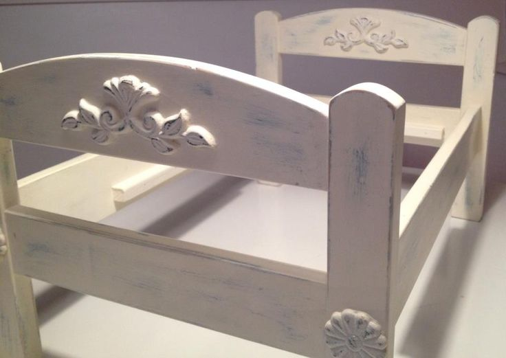Ikea Duktig doll bed, transformed with chalk paint and a bit of distressing.