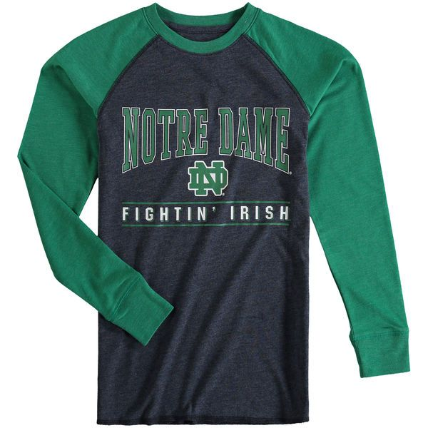 Notre Dame Fighting Irish Colosseum Youth Kryton Long Sleeve Raglan T-Shirt - Navy/Green - $21.99