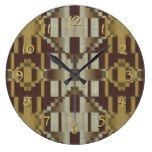 Khaki Beige Brown Ochre Yellow Mosaic Pattern Large Clock  #Beige #Brown+ #Clock #Khaki #Large #Mosaic #Ochre #Pattern #RusticClock #yellow The Rustic Clock