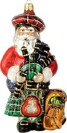polish glass christmas ornaments | Scottish Scotland Santa Polish Glass Christmas Ornament
