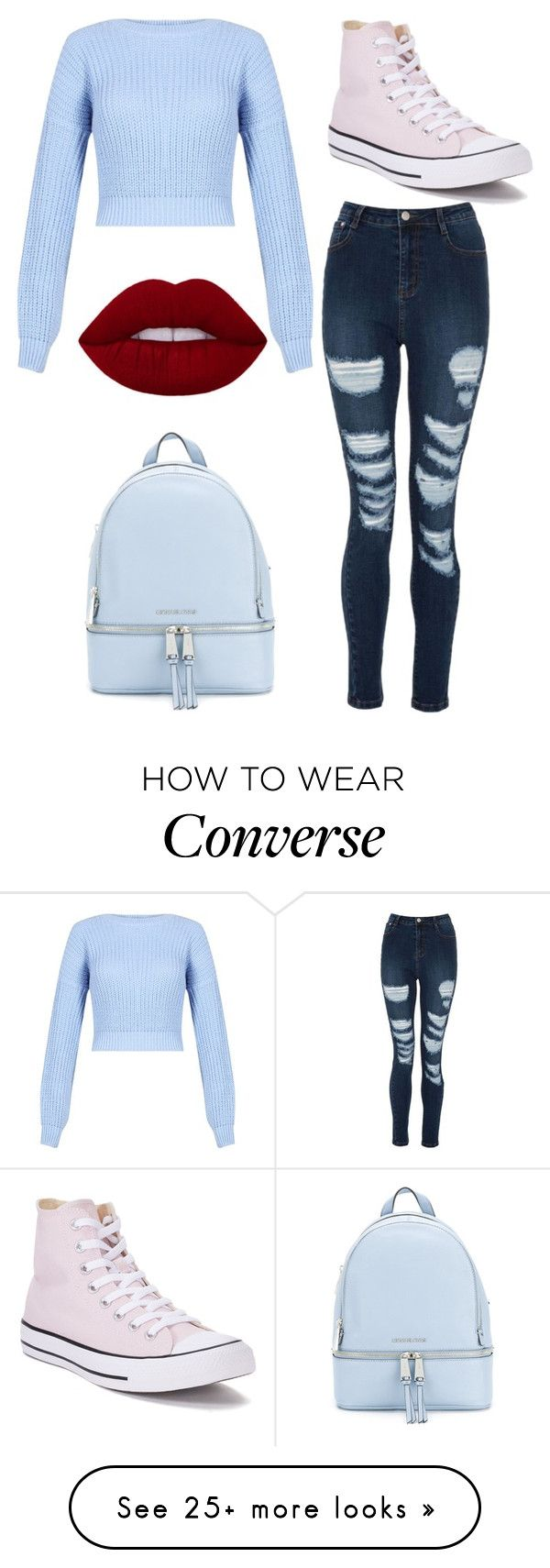 """Untitled #1627"" by aleksova on Polyvore featuring Converse and MICHAEL Michael Kors"