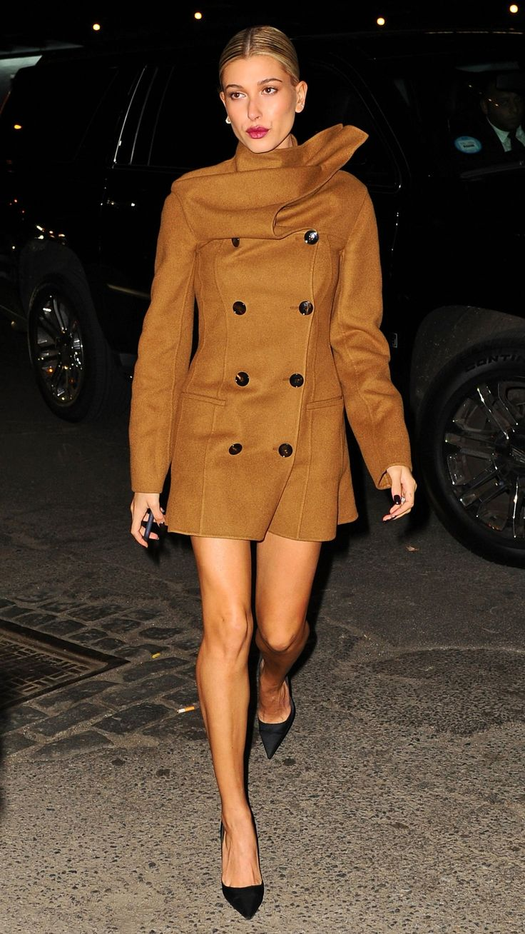 Hailey Baldwin takes bare legs for a cold-weather spin.