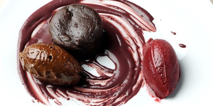 Chocolate pudding with lavender sorbet wine black berry sauce. Date guiness cake..choc liquorice mousse