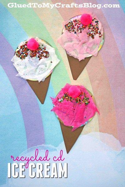 Recycled CD Ice Cream - Summer Kid Craft Idea