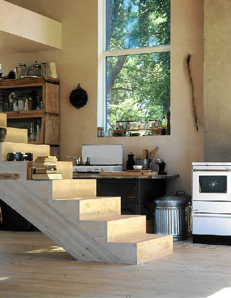 Nice.: Design Inspiration, Summer Cabins, Kitchens Spaces, Cabins Kitchens, Open Stairs, Small Interiors, Interiors Design, Rustic Kitchens, Style File