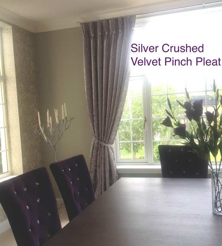 Stunning huge silver crushed velvet curtains with pinch pleat heading with Swarovski Rivoli Buttons sewn at the base of pleat - made with bonded interlining - by vintage swish