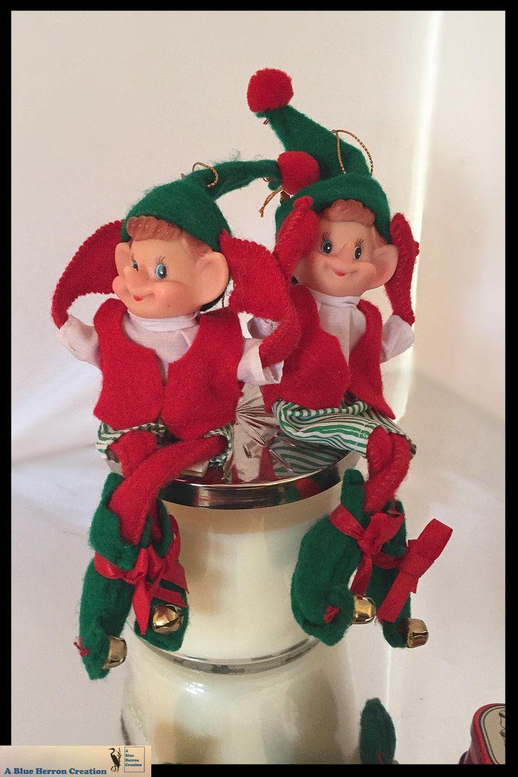 Vintage Pixie Elves -Pixie Knee Huggers from Santa Land Set, Pixie Elf Ornaments, Vintage Christmas Elf Pixie, Christmas Elves Knee Hugger by ABlueHerronCreation on Etsy