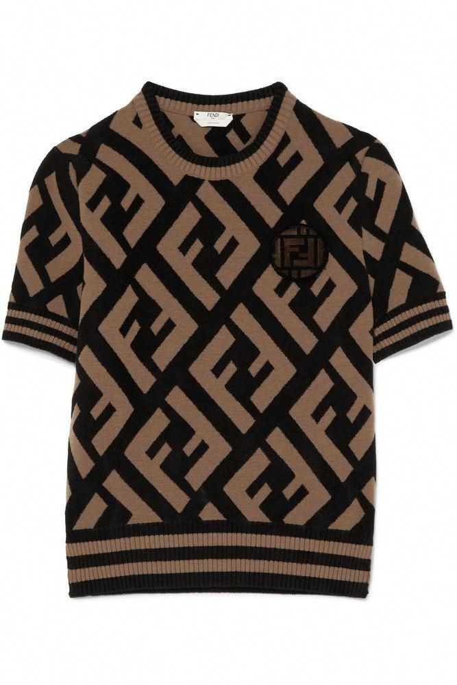 e2a4a01dca $1034 NWT Amazing FENDI FF Logo Jacquard-Knit Sweater, Sold Out Everywhere!  #