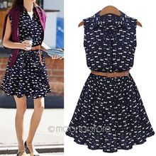 summer 2015 new women shirts dress Cat footprints pattern Show thin Shirt dress with Belt zE3253A4