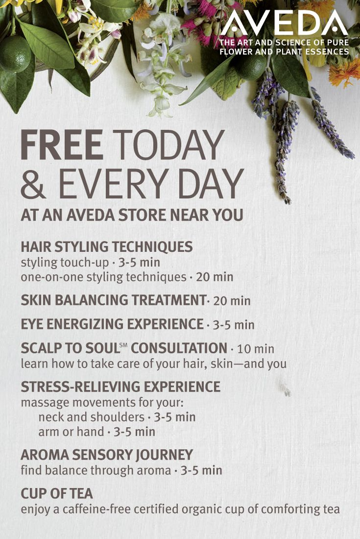Free today and every day: A moment of stress relief, a touch up for hair and makeup, a Scalp to Soul consultation to learn how to take care of your hair, skin—and you. We are here to help care for all of you.
