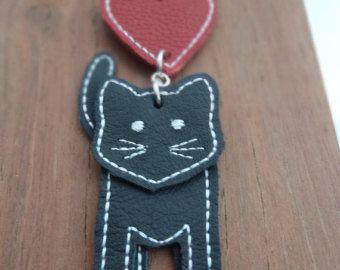 Kitty Kat leather cat key chain bag charm - Edit Listing - Etsy