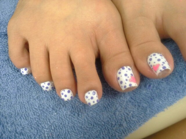 Polka dot heart toe nail design.!