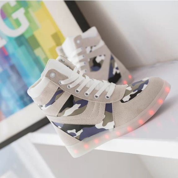 Adult Camouflage Light Up Shoes High Top
