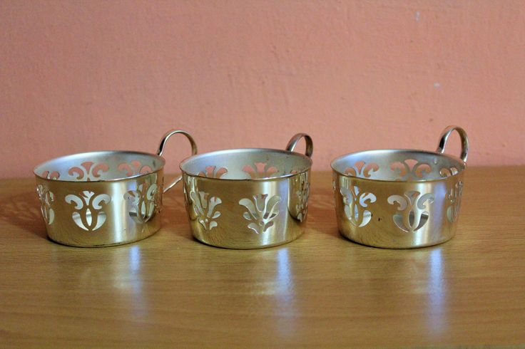 Set Of 3 Vintage Metal Silver Plated Glass Holders, Tea Cup Glass Holder, Podstakannik Tea Cup Holders by Grandchildattic on Etsy