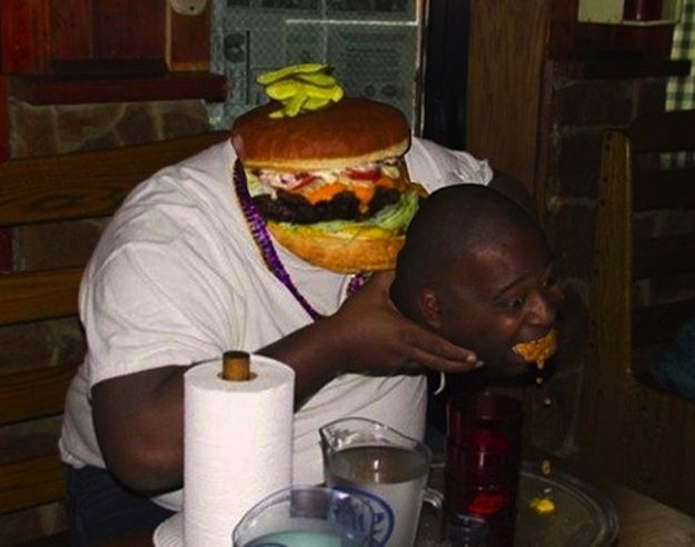 This man and a cheeseburger | 30 Most Disturbing Face Swaps Of 2012. OH MY GOSH HAHAHAHA