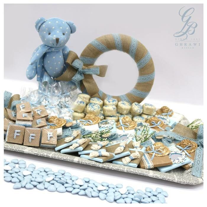 In Love with the little new baby boy.. #NewBorn #BabyBoy #Blue #Tray #Chocolate #Dragee #Decorated #BassamGhrawi #BassamGhrawiConfectionery #YourTraditionalPartner