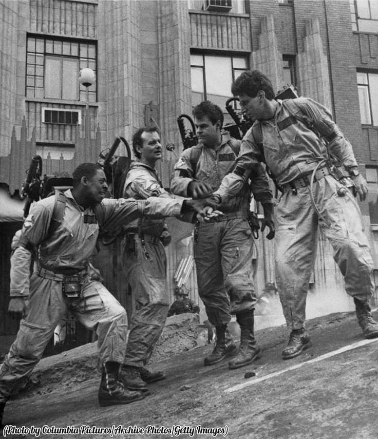 Ernie Hudson, Bill Murray, Dan Aykroyd and Harold Ramis on the set of Ghostbusters, 1984.
