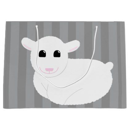 Sweet Smiling Lamb Drawing with Stripes Large Gift Bag - baby gifts child new born gift idea diy cyo special unique design