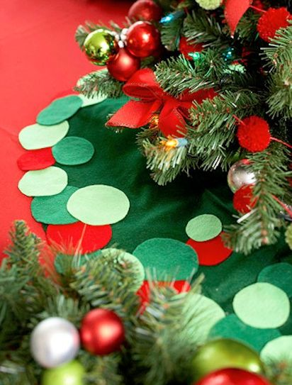 A Circular Felt Skirt Looks Lovely At The Base Of Tree Carry Through Ball Ornament Theme With Border Circles In Shades Green And Bright