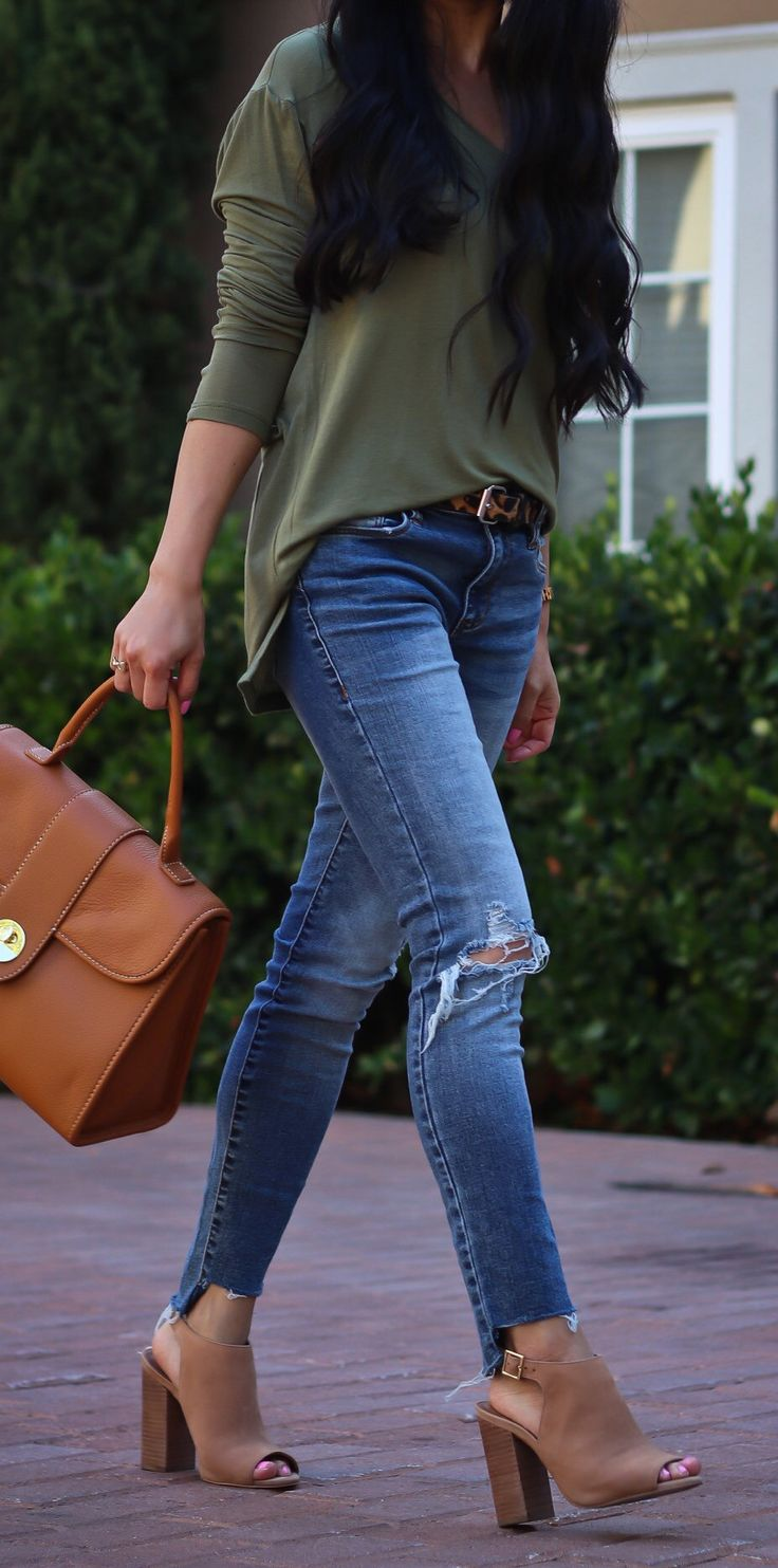 #summer #outfits  Olive Knit + Ripped Skinny Jeans + Camel Booties