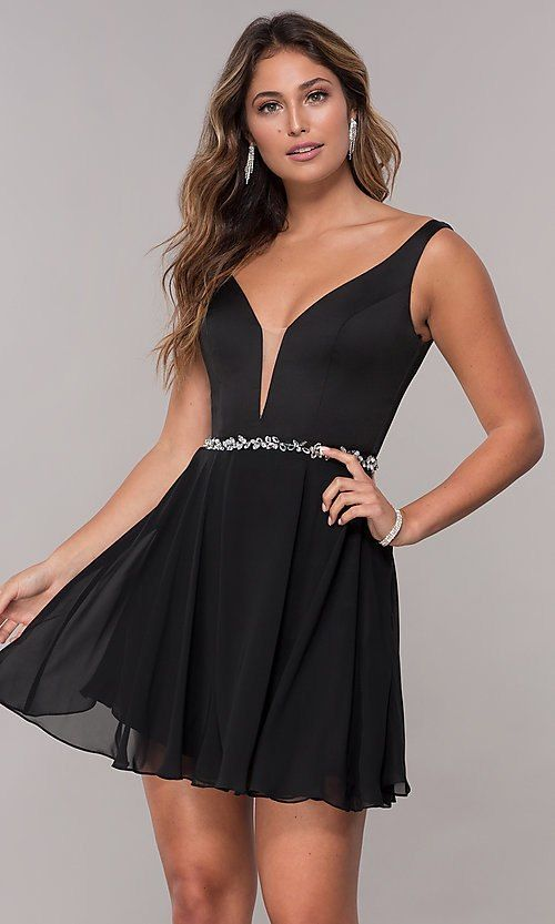 3f527acdc072 Chiffon Short V-Neck Homecoming Dress in 2019 | Dresses ...