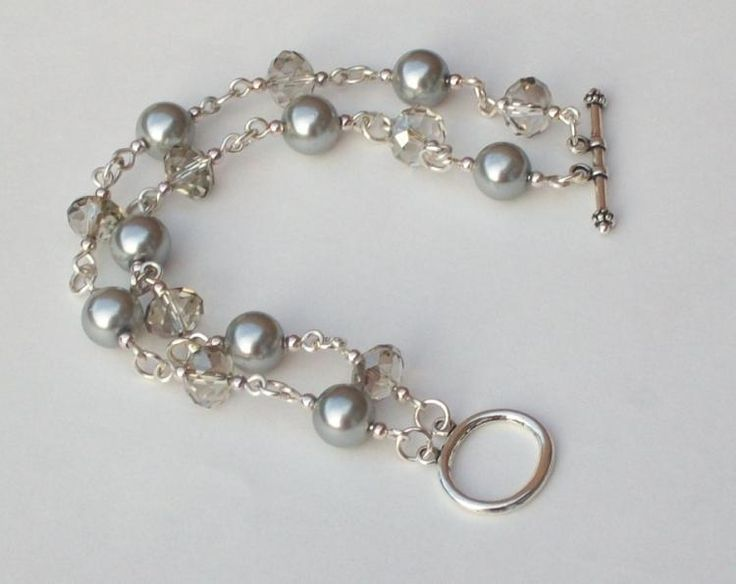 Two Strand Bracelet with 1mm wire, double strand clasp, grey glass rondelles, 8mm silver acrylic pearls