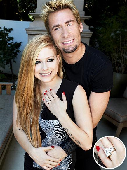 "On August 8, 2012 Chad Kroeger of Nickelback chose a 14ct, pear-shaped diamond to pop the question with. Avril Lavigne said ""YES"" to her Canadian rocker boyfriend of six-months. Yay Weddings!!!"