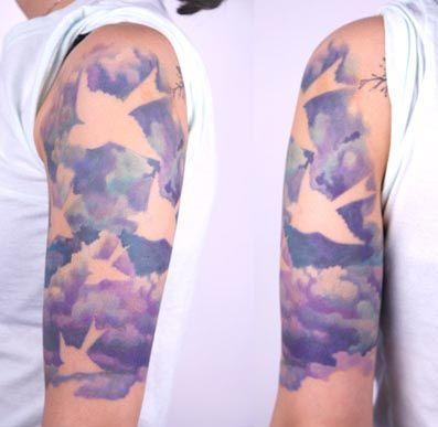 water color birds: Tattoo Ideas, Amanda Wachob, Birds Tattoo, Amandawachob, Negative Spaces, Watercolor Tattoo, Watercolors, Cloud, Water Colors