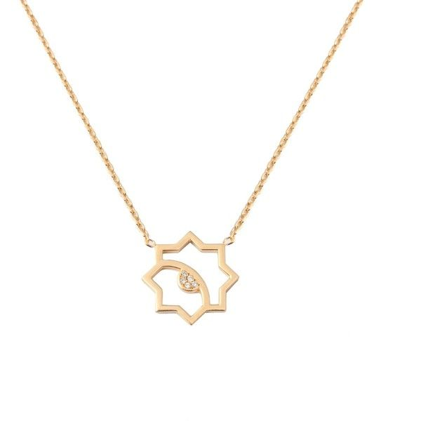 LEIVANKASH - Donya Star Necklace Gold and Diamond ($665) ❤ liked on Polyvore…