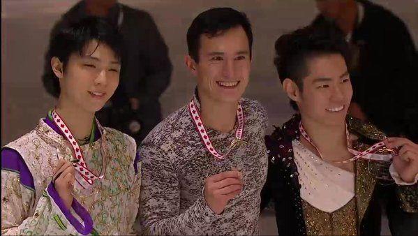 Yuzuru Hanyu(JAPAN) Patrick Chan(Canada) and Daisuke Murakami(JAPAN)  : Skate Canada 2015