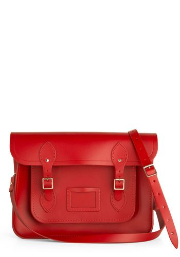 Cambridge Satchel Upwardly Mobile Satchel in Red - 14 inch by The Cambridge Satchel Company  - Red, Solid, Buckles, Luxe, Urban, Work, Schol...