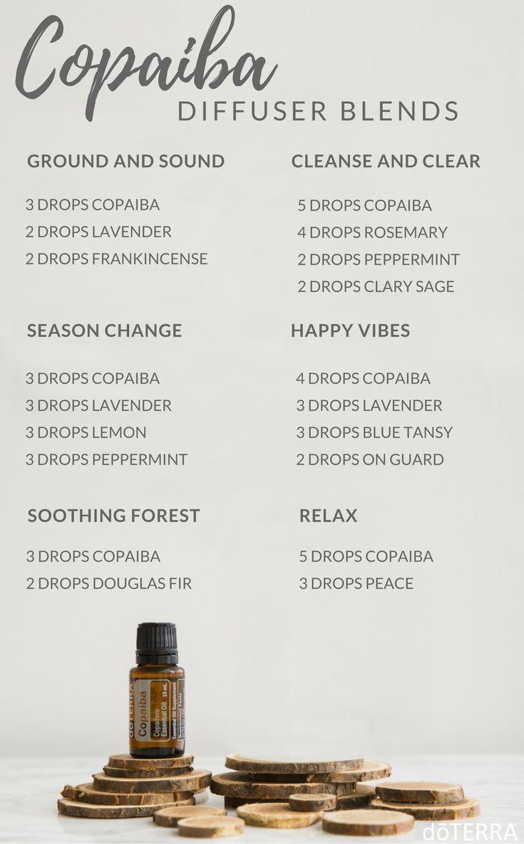 Copiba Essential Oils Diffuser Blends ••• Buy dōTERRA essential oils online at www.mydoterra.com/suzysholar, or contact me suzy.sholar@gmail.com for more info. #EssentialOilBlends