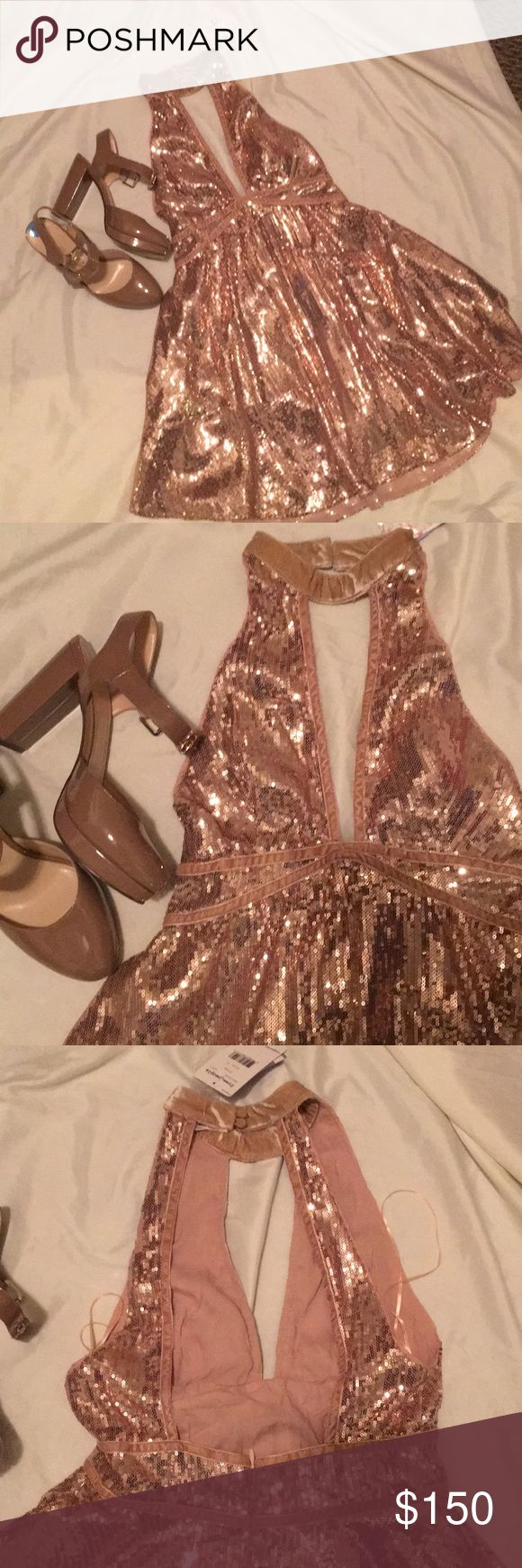 Free People Rose sequences dress size 0 & heels Beautiful beautiful beautiful - perfect for New Years and heels to match!  Nine West  size 7.5.  Dress size 0z. All new - never worn Free People Dresses Mini