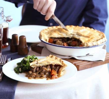 This is an amazing Steak and Ale pie which has not failed to please both times I have made it. I used Guinness for my ale.