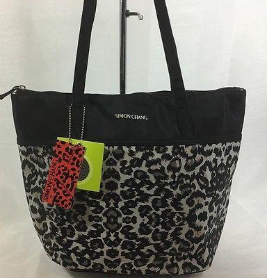 Simon Chang Lunch Bag Insulated Box Handbag Tote For Woman Black / Grey  NWT