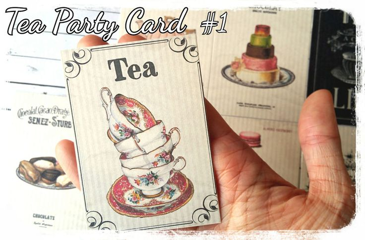8x Card paper ephemera,scrapbook,Tea Party Theme Favour Tags,Baby Shower Tag