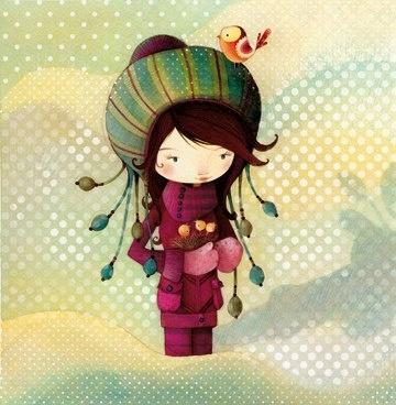 Girl with bird nest / Ketto
