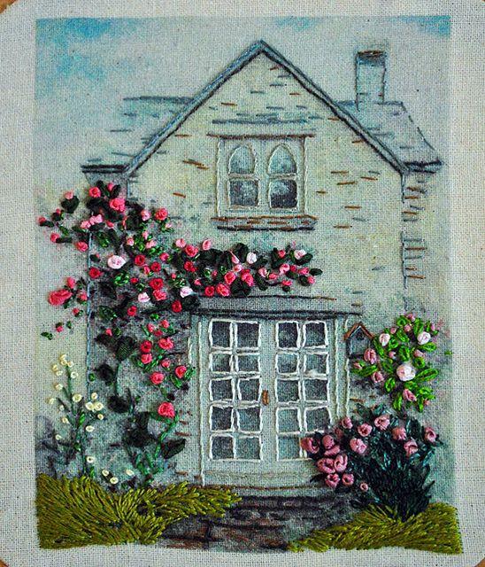 I ❤ ribbon embroidery . . . House emb 3 ~By The Handmaden - Kelly Casanova