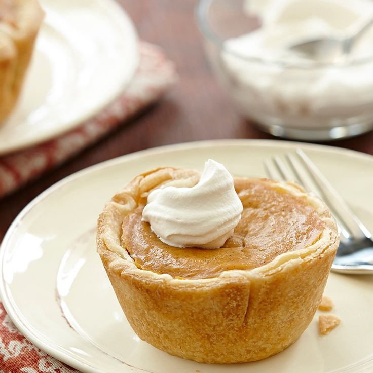 A muffin tin makes a convenient pan for making mini pies. Serve these individual pumpkin pies as part of a holiday dessert buffet.