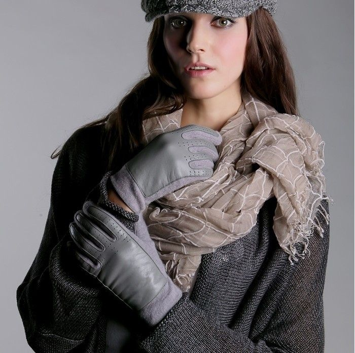 Warmest Gloves For Women Fingertips Gray Black Black Gray Feather Fur Leather Wrist Length Accept Wholesale