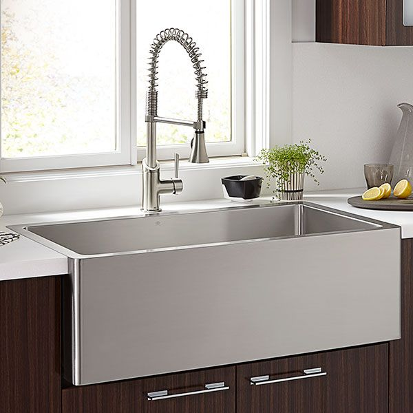 kitchen farm sinks orchard 36 inch wide stainless steel kitchen sink from dxv - Stainless Farmhouse Sink
