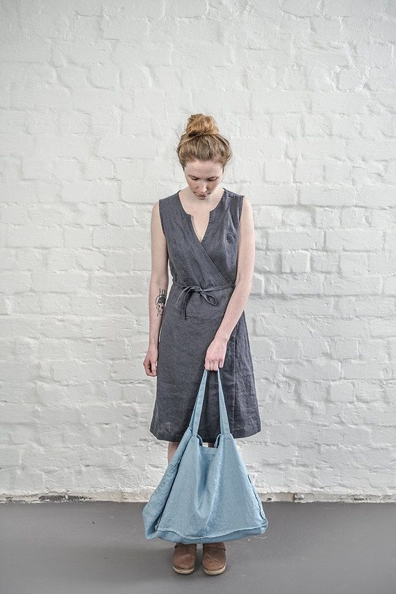 Black linen wrap dress by notPERFECTLINEN on Etsy
