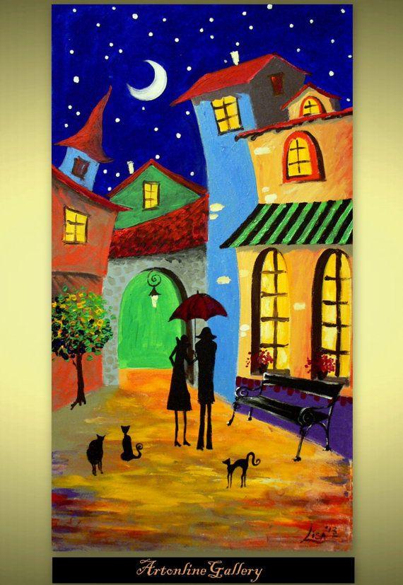 Original pintura - noche estrellada en el barrio - acrílico contemporáneo arte abstracto - por Lisa  Véase la pintura en los detalles. Cada pulgada es suficiente atención.  Los colores y texturas superficiales traerá frescura a tu habitación u oficina. Utilizamos pinturas al óleo y el lienzo de la mejor calidad europea, que garantiza larga vida para su pintura al óleo.  Contamos con acrílico tradicional en proceso de pintura de la lona, no impresión debajo, no asistido por ordenador de…