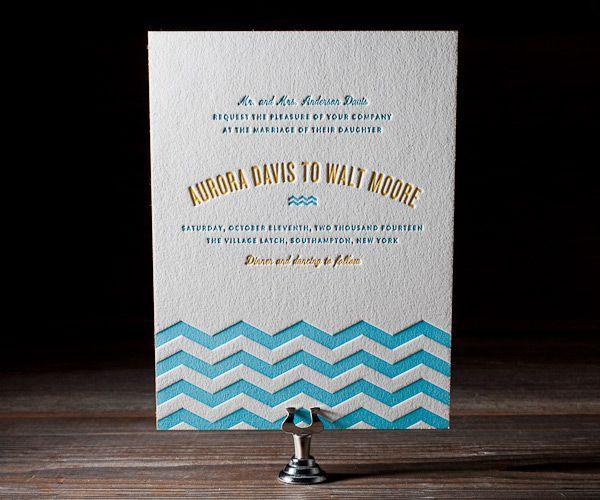 Letterpress Wedding Invitations | Vintage Beach Design | Bella Figura Letterpress