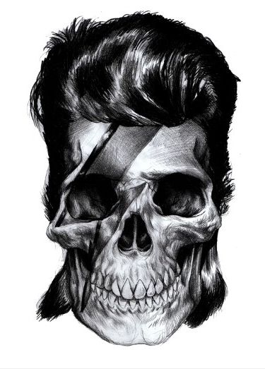 Illustration by Iain Macarthur. #skullBowie Skull, Davidbowie, Masks, Girls Fashion, Iain Macarthur, David Bowie, Rocks And Rolls, Drawing, Art Illustration