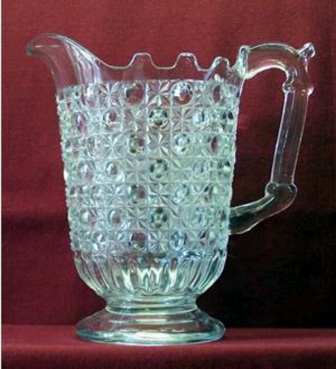 Pressed glass water pitcher, circa1880s.